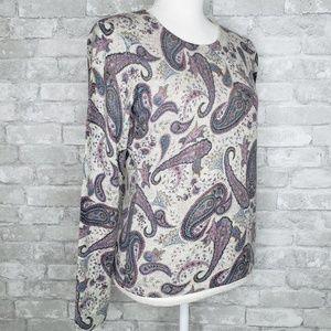 Geneva Paisley 100% Cashmere Long Sleeve Sweater M